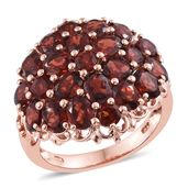 Mozambique Garnet 14K RG Over Sterling Silver Cluster Ring (Size 10.0) TGW 9.55 cts.