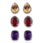 Multi Gemstone Platinum Over Sterling Silver Set of 3 Earrings TGW 5.30 cts.