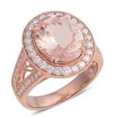 ILIANA 18K RG Marropino Morganite, Diamond Openwork Ring (Size 7.0) TDiaWt 0.86 cts, TGW 4.53 cts.