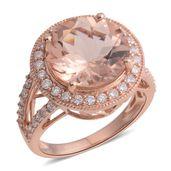 ILIANA 18K RG Marropino Morganite, Diamond Split Shank Ring (Size 7.0) TDiaWt 0.71 cts, TGW 5.66 cts.