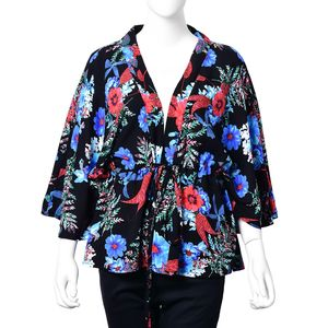 Black 100% Viscose Multi Color Floral Open Cardigan with Belted Wrap (One Size)