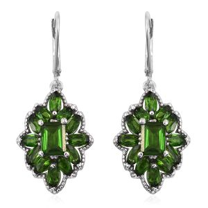 Russian Diopside Platinum Over Sterling Silver Lever Back Earrings TGW 6.65 cts.