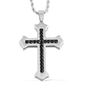 Simulated Black Diamond Stainless Steel Cross Pendant With Chain TGW 3.78 cts.