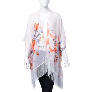 Pastel Pink 100% Polyester Floral Pattern Kimono with Tassels (One Size)