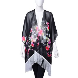 Black 100% Polyester Floral Pattern Kimono with Tassels (One Size)