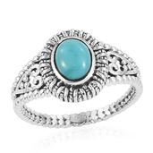Artisan Crafted Sonoran Blue Turquoise Sterling Silver Men's Solitaire Ring (Size 13.0) TGW 1.13 cts.