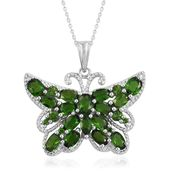 Creature Couture - Russian Diopside Platinum Over Sterling Silver Butterfly Pendant With Chain (20 in) TGW 5.14 cts.