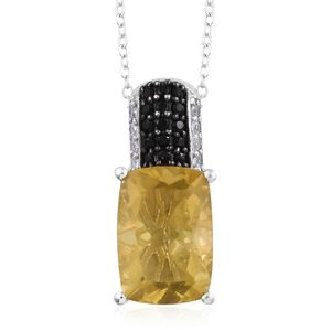 Canary Fluorite, Thai Black Spinel, Cambodian Zircon Platinum Over Sterling Silver Pendant With Chain (20 in) TGW 8.41 cts.