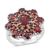 Mozambique Garnet 14K YG and Platinum Over Sterling Silver Flower Ring (Size 11.0) TGW 8.60 cts.