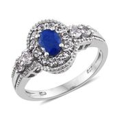 Mahenge Blue Spinel, White Topaz Platinum Over Sterling Silver Ring (Size 7.0) TGW 1.90 cts.