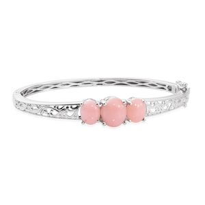 Peruvian Pink Opal Platinum Bond Brass Bangle (7.25 in) TGW 6.92 cts.