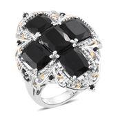 Australian Black Tourmaline, Thai Black Spinel Platinum Over Sterling Silver Ring (Size 5.0) TGW 12.14 cts.
