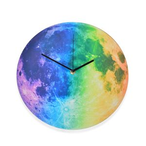 Multi Color Luminous Moon Wall Clock (11.8x11.8 in)