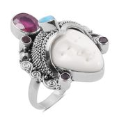 Bali Goddess Collection Carved Bone, Multi Gemstone Sterling Silver Ring (Size 6.0) TGW 15.42 cts.