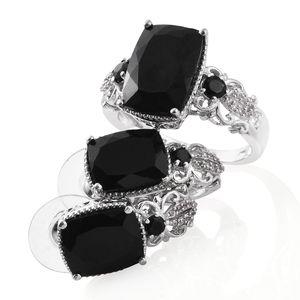 Australian Black Tourmaline, Thai Black Spinel, Cambodian Zircon Platinum Over Sterling Silver Earrings and Ring (Size 8) TGW 16.60 cts.