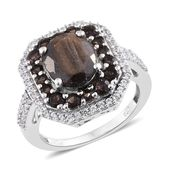 Chocolate Sapphire, Brazilian Smoky Quartz, Cambodian Zircon Platinum Over Sterling Silver Ring (Size 10.0) TGW 6.01 cts.
