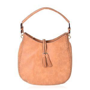 Camel Faux Leather Hobo Bag (14.2x4.4x12 in)
