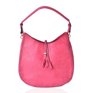 Rose Pink Faux Leather Hobo Bag with Tassel (14.2x4.4x12 in)