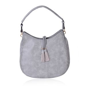 Gray Faux Leather Hobo Bag (14.2x4.4x12 in)