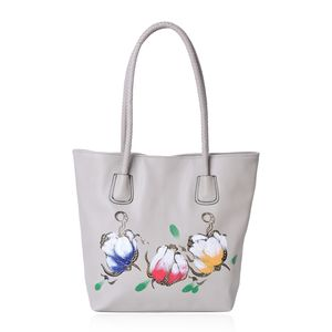Gray with Multi Color Flower Pattern Faux Leather Tote Bag (15.6x11.4x13 in)