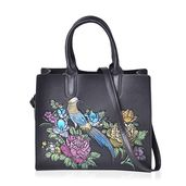 Black, Multi Color Flower and Bird Embossed Faux Leather Structured Tote with Removable Shoulder Strap (12.5x5x10.5 in)