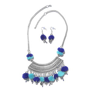 Handcrafted Blue Pom Pom Charms Silvertone Boho Style Earrings and Necklace (20 in)