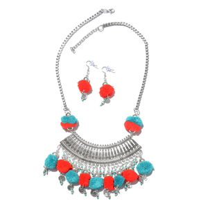 99b7ada626da4 Handcrafted Red and Teal Pom Pom Charms Silvertone Boho Style Earrings and  Necklace (20 in)