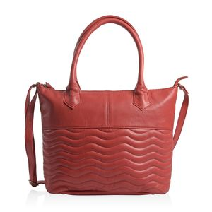 Red Genuine Leather RFID Wave Quilted Pattern Tote Bag with Standing Studs (16x11.25x4.5 in)