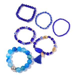 Blue Agate Enhanced, Multi Gemstone Goldtone & Iron Set of 6 Bracelet (6.50, 7In) TGW 572.41 cts.