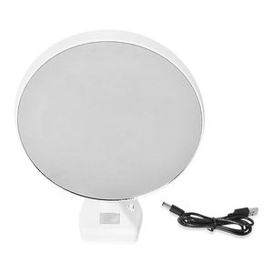 White Glass Round Shape LED Photo Frame Mirror (3xAAA Batteries Require) TGW 1000.00 cts.