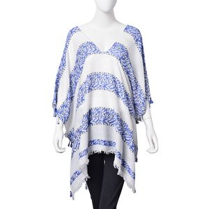 White and Blue 100% Viscose Geometric Pattern Kimono with Fringes and Tassels (One Size)