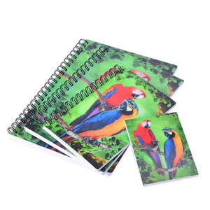 Set of 4 Green 3D Parrots Print Notebooks (7.5x5.5-3.25x2.50 in)