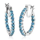 Malgache Neon Apatite Platinum Over Sterling Silver Inside Out Hoop Earrings TGW 2.68 cts.