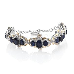 Madagascar Blue Sapphire, Cambodian Zircon 14K YG and Platinum Over Sterling Silver Bracelet (7.50 In) TGW 22.65 cts.