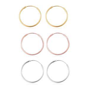 14K YRG and Platinum Over Sterling Silver Set of 3 Pairs Hoop Earrings