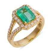 ILIANA 18K YG Boyaca Colombian Emerald, Diamond Split Shank Ring (Size 7.0) TDiaWt 0.61 cts, TGW 2.66 cts.