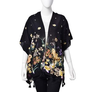 Black 100% Viscose Flower Pattern Kimono with Hand Knotted Tassels (28.74x27.56 in)