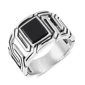 Enhanced Black Agate Black Oxidized Stainless Steel Men's Ring (Size 10.0) TGW 5.00 cts.