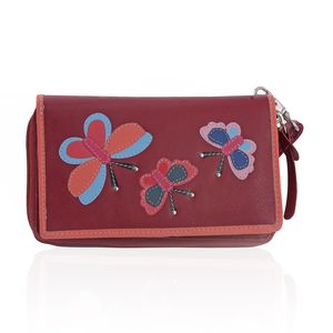 Red 100% Genuine Leather RFID Butterfly Applique Wallet (6.25x1x4 in)