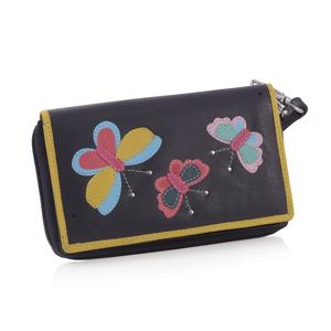 Deep Violet 100% Genuine Leather RFID Butterfly Applique Wallet (6.25x1x4 in)