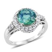 Peacock Quartz, Cambodian Zircon Platinum Over Sterling Silver Ring (Size 8.0) TGW 5.00 cts.