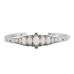 Australian White Opal, Russian Diopside Platinum Over Sterling Silver Cuff (7.25 in) TGW 6.03 cts.