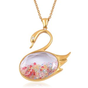 Glass, Multi Color Austrian Crystal ION Plated YG Stainless Steel Swan Pendant With Chain (20 in) TGW 46.00 cts.
