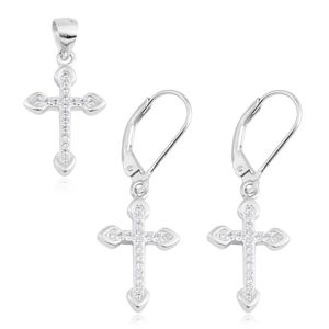 Simulated Diamond Sterling Silver Lever Back Earrings and Cross Pendant without Chain TGW 0.54 cts.