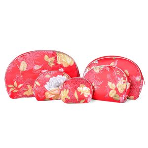 Set of 5 Handcrafted Red with Floral Pattern Satin Nesting Pouches (9.5x4.5-3x2.5 in)