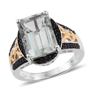 Green Amethyst, Thai Black Spinel 14K YG and Platinum Over Sterling Silver Ring (Size 9.0) TGW 7.30 cts.