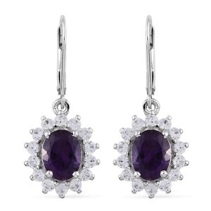 Lusaka Amethyst, Cambodian Zircon Platinum Over Sterling Silver Lever Back Earrings TGW 5.06 cts.