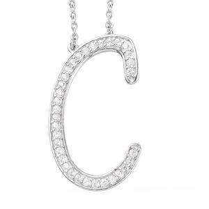 Initial C Necklace Featuring Cambodian White Zircon in Platinum Over Sterling Silver (20 in) TGW 0.67 cts.