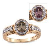 Merelani Color Change Garnet, Cambodian Zircon 14K YG Over Sterling Silver Ring (Size 5.0) TGW 1.40 cts.