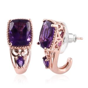 Lusaka Amethyst Vermeil RG Over Sterling Silver J-Hoop Earrings TGW 6.40 cts.